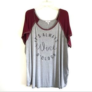 NEW Maurices always wine o'clock graphic tee